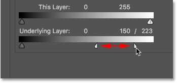Fine-tuning the text blending effect by adjusting each half of the slider