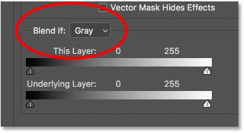 The Blend If option set to Gray in the Layer Style dialog box in Photoshop