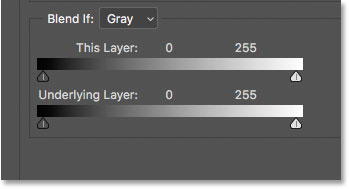 The Blend If sliders, This Layer and Underlying Layer, in the Layer Style dialog box in Photoshop