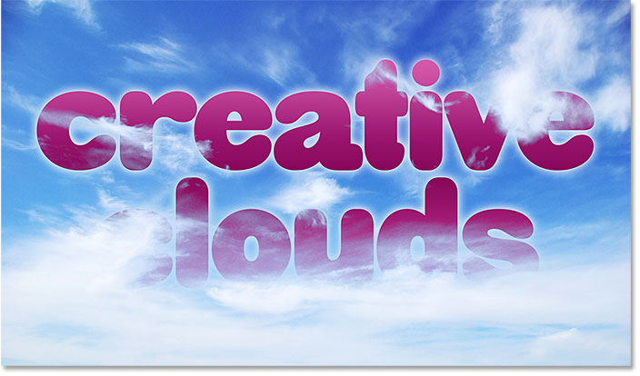 How to blend text into a background image of clouds in Photoshop