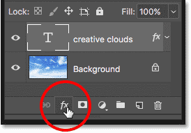 Clicking the Layer Styles icon to open the Blending Options