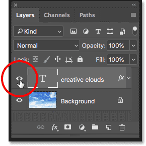 Turning on the Type layer in the Layers panel in Photoshop