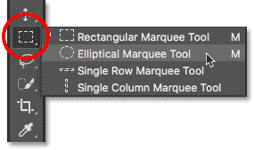 Selecting the Elliptical Marquee Tool in Photoshop