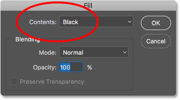 Setting the Contents option to Black in the Fill dialog box