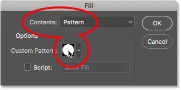Setting Contents to Pattern in the Fill dialog box.