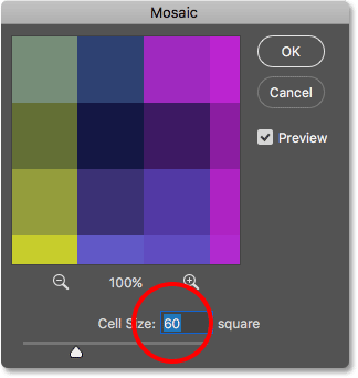 Choosing the Cell Size in the Mosaic filter dialog box