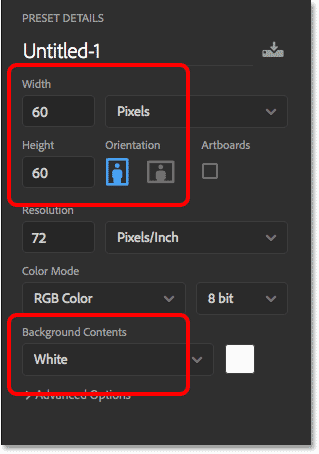 Creating a new Photoshop document that matches the size of the squares