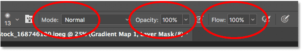 The Brush Tool options in the Options Bar in Photoshop