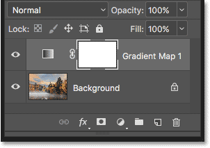 The Gradient Map adjustment layer in the Layers panel