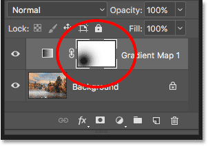 The layer mask thumbnail showing where we clicked