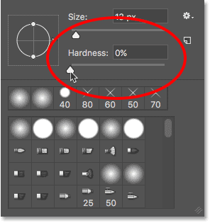 The brush Hardness value in Photoshop