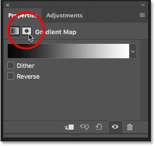 The Layer Mask icon in the Properties panel in Photoshop