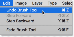 Selecting the Undo Brush Tool command in Photoshop