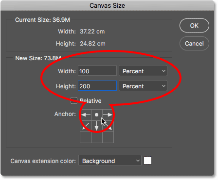 Doubling the height of the canvas in Photoshop.