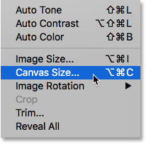 Selecting the Photoshop Canvas Size command.