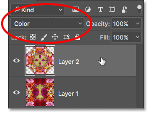 Selecting Layer 2 and changing its blend mode to Color.