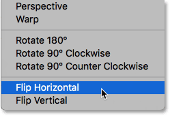The Flip Horizontal command in Photoshop.