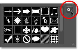 Clicking the menu icon for the Custom Shape Picker in Photoshop.