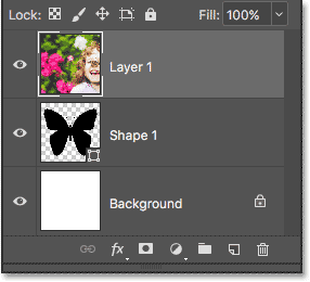 The Layers panel showing the image above the shape.