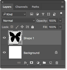 The shape appears on a Shape layer in the Layers panel.