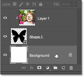 Selecting the Background layer in the Layers panel.