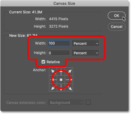 Adding more canvas space with Photoshop's Canvas Size dialog box