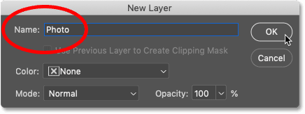 Renaming and unlocking the Background layer in Photoshop