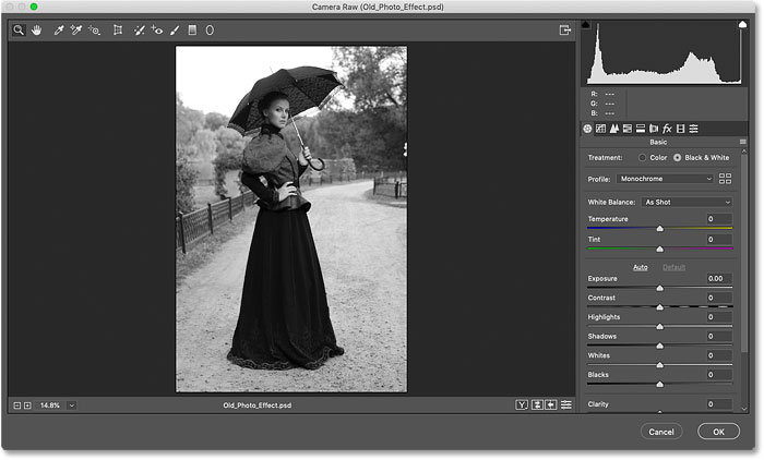 The initial black and white conversion for the old photo effect in Photoshop
