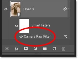 Photoshop's Layers panel showing the Camera Raw smart filter