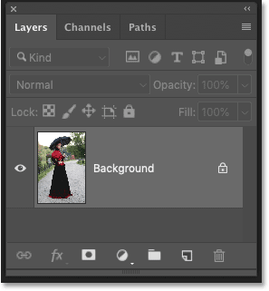 The Layers panel in Photoshop CC showing the original photo on the Background layer