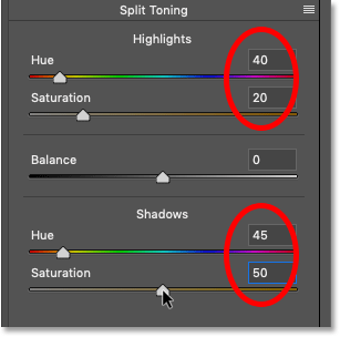 The Splt Tone panel settings in Photoshop's Camera Raw Filter