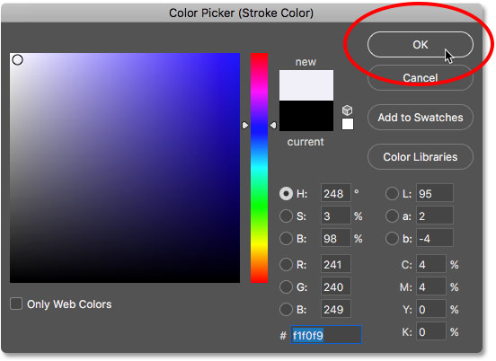 Clicking OK to close the Color Picker.