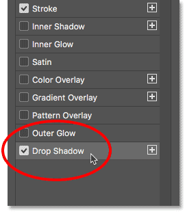 Clicking on the words 'Drop Shadow' on the left of Photoshop's Layer Style dialog box.