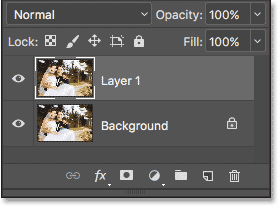 The first copy, named Layer 1, appears in the Layers panel.