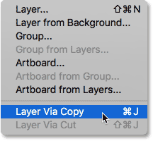 Selecting the New Layer Via Copy command in Photoshop.