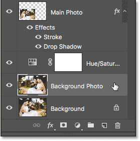 Selecting the Background Photo layer.