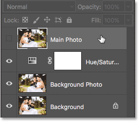 Selecting the Main Photo layer in the Layers panel.