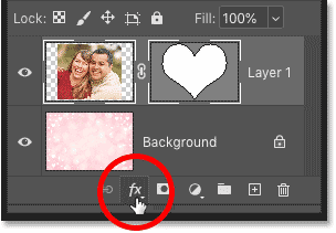 Clicking the Add Layer Style icon in Photoshop's Layers panel