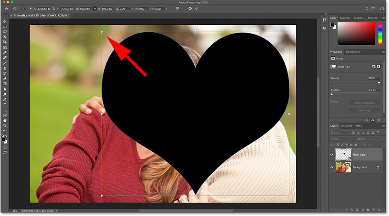 Resizing and moving the shape with Free Transform in Photoshop