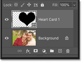 Photoshop's Layers panel showing the shape layer above the Background layer