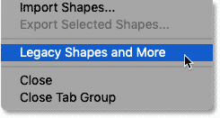 Loading the Legacy Shapes and More from the Shapes panel menu in Photoshop