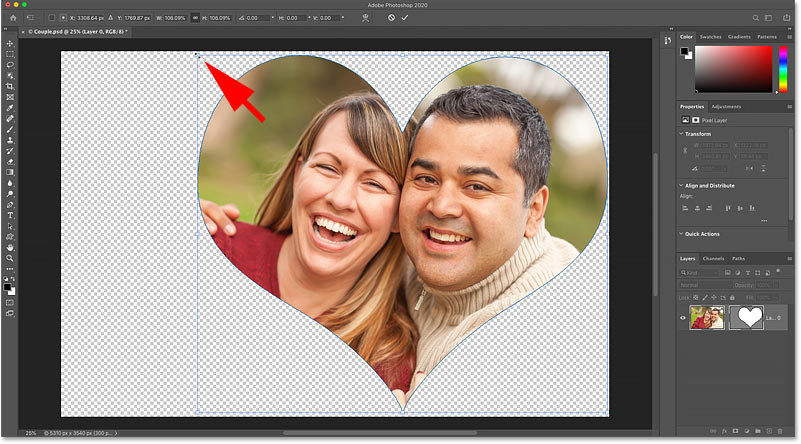 Resizing the shape without resizing the image in Photoshop