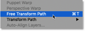 Choosing the Free Transform Path command in Photoshop