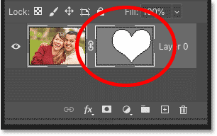 The vector mask thumbnail in Photoshop's Layers panel