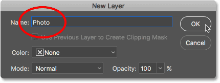 Renaming the Background layer to Photo in Photoshop