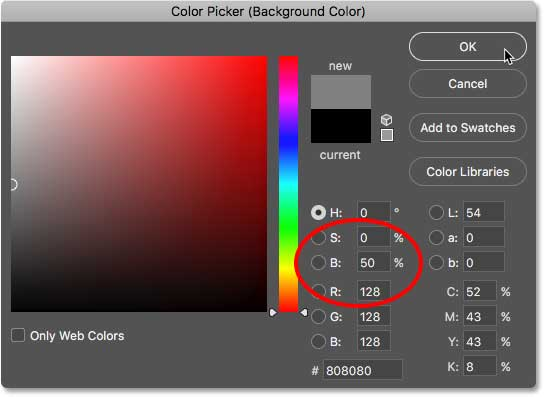 Setting the Background color to 50 percent gray in the Color Picker