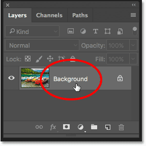 Double-clicking on the Background layer in the Layers panel