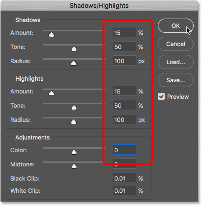 Lowering the contrast and color of the pointillism effect with Shadows/Highlights
