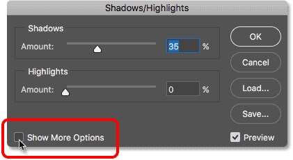 Selecting Show More Options in the Shadows/Highlights dialog box