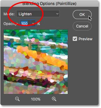 Changing the blend mode of the second Pointillize filter to Lighten